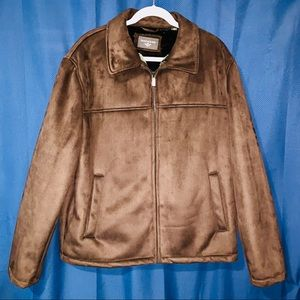 Mens Dockers Faux Fur Brown Jacket. Size Large.